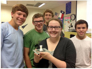 MHS engineering students recently made their first object from a 3D printer (the Cube).